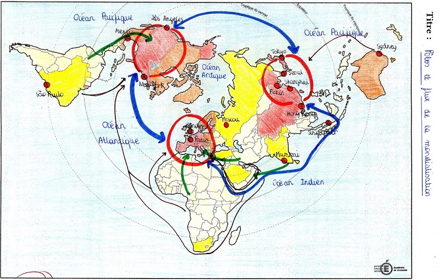carte pôles et flux de la mondialisation terminale s Croquis : pôles et flux de la mondialisation   librecours.eu
