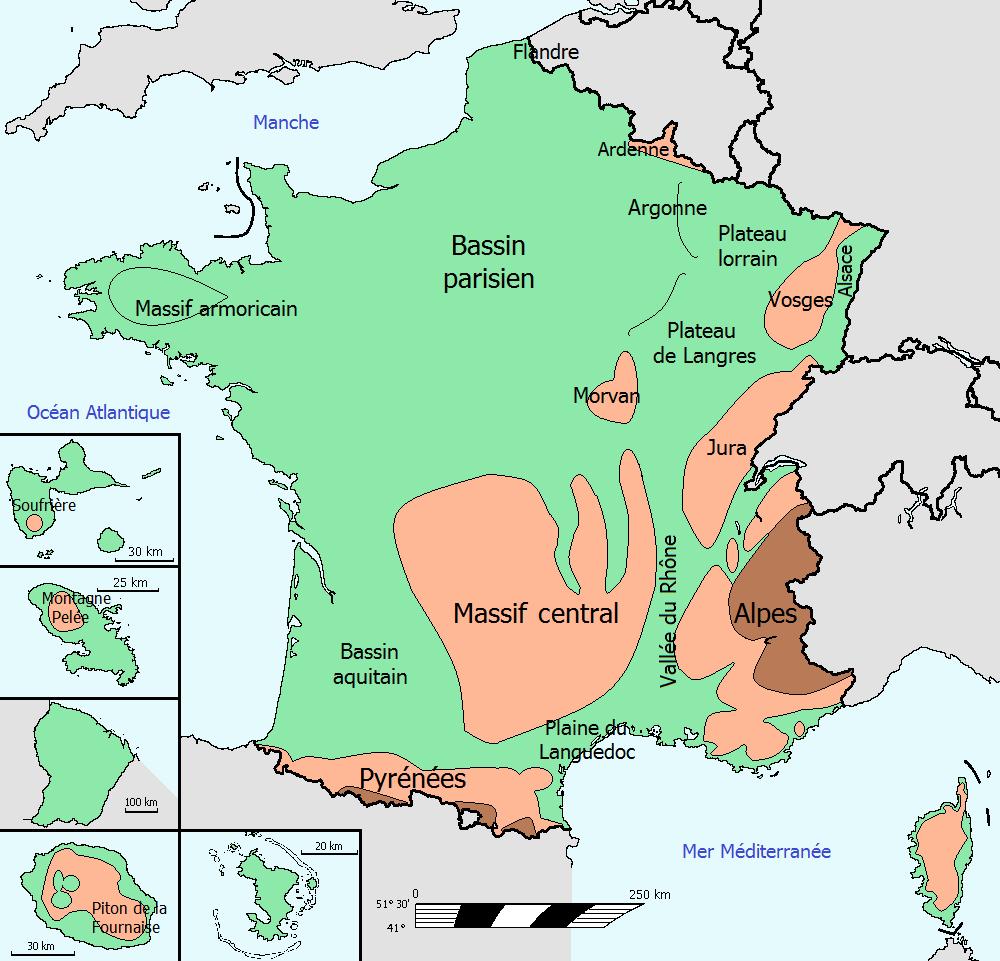 carte des reliefs de france Carte : les reliefs en France   librecours.eu