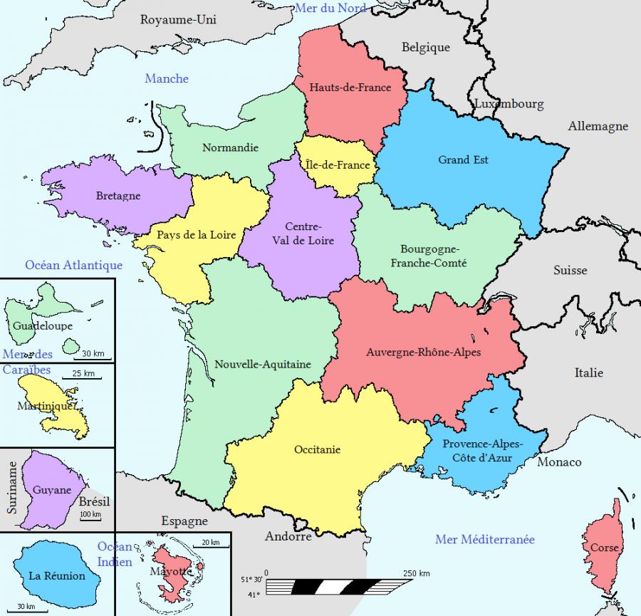 Carte Les Regions Francaises Librecours Eu